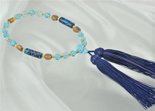 ボヘミアガラス念珠(ブルーゴールド/紺青)【誕生日 贈り物 プレゼント お祝い アクセサリー】