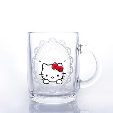 ハローキティフレーム・マグ&リング(ピンクゴールド)【誕生日 バースデー ギフト 贈り物 プレゼント グラス 食器 スワロフスキー】の画像1枚目