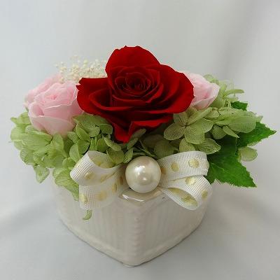 真っ赤なバラとパール Pearly パーリィ【プリザーブドフラワー アレンジメント フラワーギフト プレゼント ギフト】
