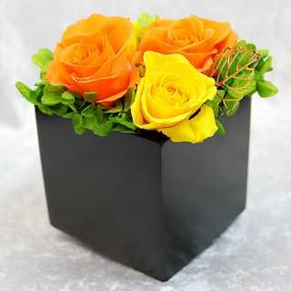 スクエアウッド・オレンジ【プリザーブドフラワー アレンジメント フラワーギフト プレゼント ギフト】の画像1枚目