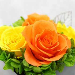 スクエアウッド・オレンジ【プリザーブドフラワー アレンジメント フラワーギフト プレゼント ギフト】の画像2枚目