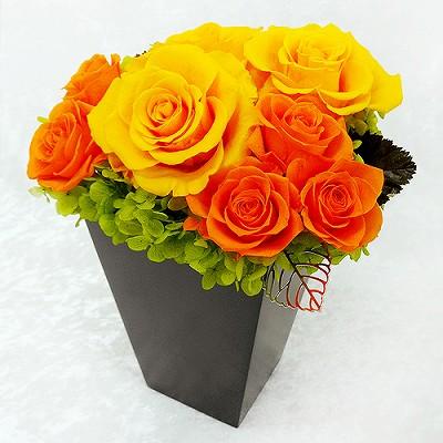 大人気!素敵なプリザのギフト! スクエアウッドL・オレンジ【プリザーブドフラワー アレンジメント フラワーギフト プレゼント ギフト】の画像1枚目