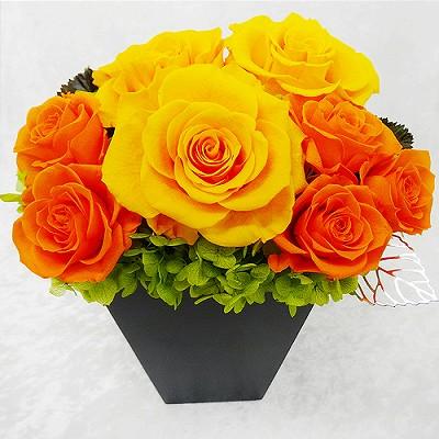 大人気!素敵なプリザのギフト! スクエアウッドL・オレンジ【プリザーブドフラワー アレンジメント フラワーギフト プレゼント ギフト】の画像2枚目