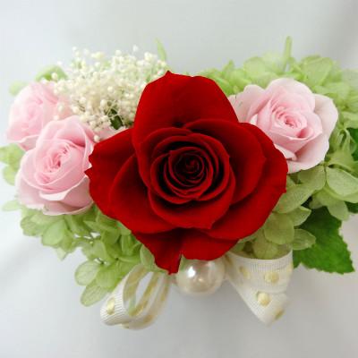 真っ赤なバラとパール Pearly パーリィ【プリザーブドフラワー アレンジメント フラワーギフト プレゼント ギフト】の画像2枚目
