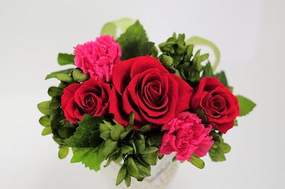 真っ赤なバラとピンクのカーネーション オペラ【プリザーブドフラワー アレンジメント フラワーギフト プレゼント ギフト】の画像1枚目