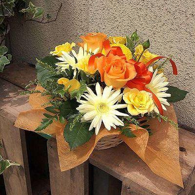 【父の日 ギフト】オレンジアレンジメント【記念日 誕生日 お祝い アレンジメント オレンジ系 バースデー 敬老の日】