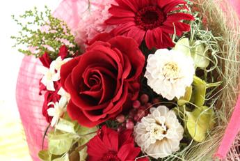 【花束:赤いバラ&ガーベラ】プリザーブドフラワー