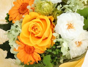 【花束:オレンジのバラ&ガーベラ&白のマリアンヌ】プリザーブドフラワー
