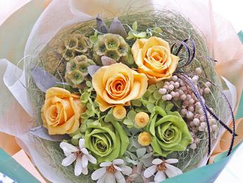 【花束:黄色いバラ&パウダーティのバラ】プリザーブドフラワー