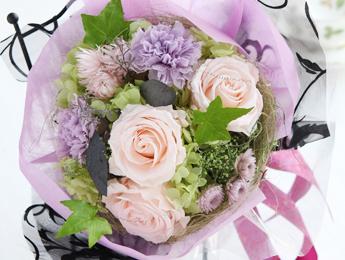 【花束:ピンクのバラ&紫のカーネーション】プリザーブドフラワー