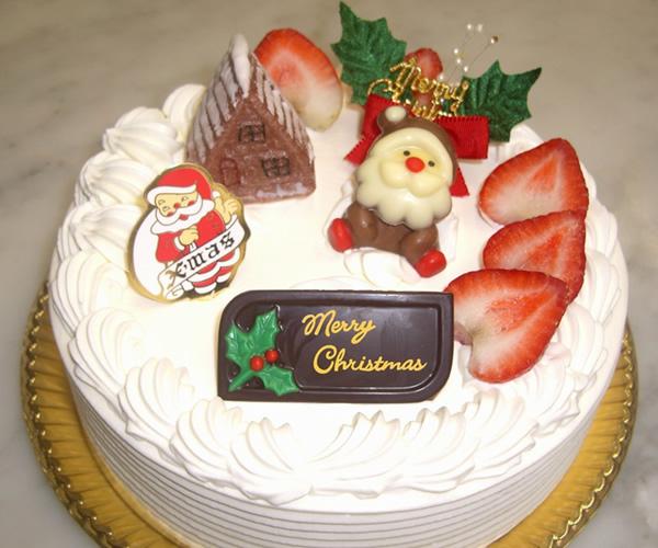 【クリスマスケーキ2015】クリスマス 苺生クリームデコレーションケーキ 6号(直径18cm)の画像1枚目