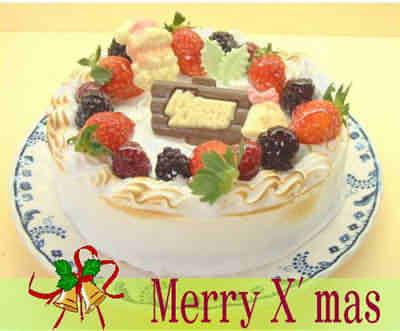 【送料無料】【クリスマスケーキ2015先行予約】ホールアイスケーキ〜Xマスバージョン(6号)【アイスケーキ お取り寄せ 予約】の画像1枚目