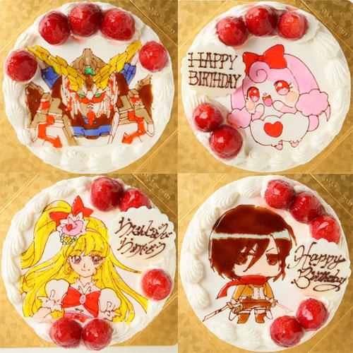 苺が飾られキャラクターが描かれている