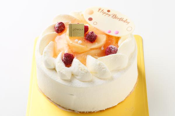 桃とラズベリーのデコレーションケーキ4号サイズ (直径12cm) 2〜4人用