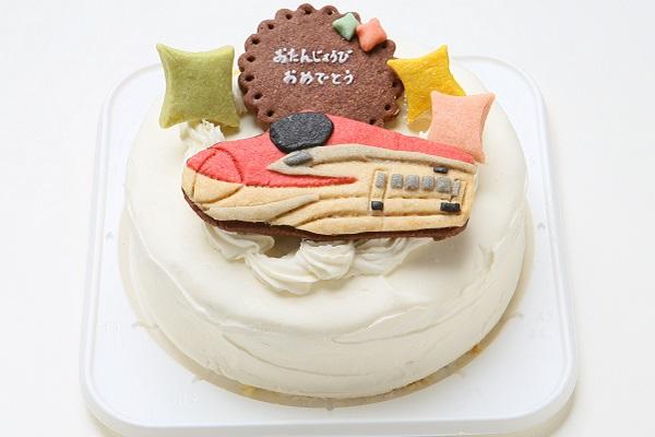 卵・乳製品除去 【乗り物1台のみ】国産小麦粉使用 乗り物クッキーのデコレーションケーキ4号 12cmの画像2枚目