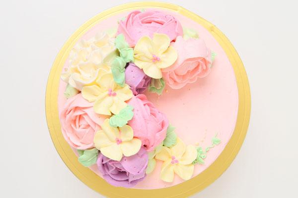 立体フラワーバタークリームデコレーションケーキ 4号 12cmの画像2枚目