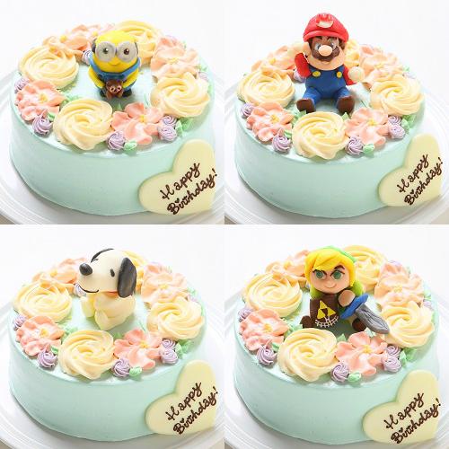 【チョコキャラクター人形付き】フラワーバタークリームデコレーションケーキ4号