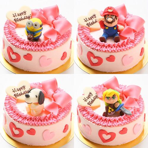 【チョコキャラクター人形付き】リボンのバタークリームデコレーションケーキ4号