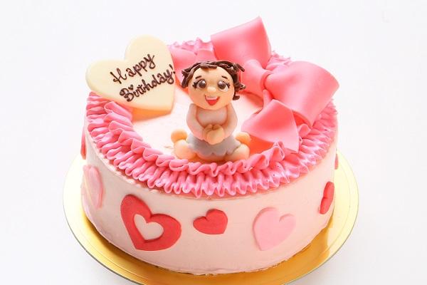チョコ似顔絵人形付き リボンのバタークリームデコレーションケーキ 4号 12cm