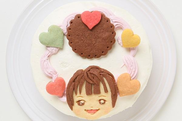 卵・乳製品除去 【イラスト1体顔のみ】国産小麦粉使用 似顔絵クッキーのデコレーションケーキ4号 12cm(似顔絵)