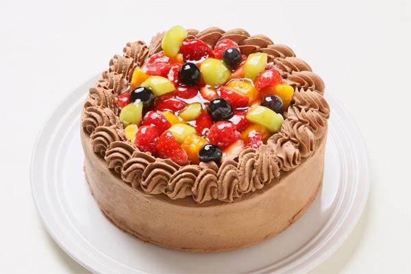 チョコ生クリームフルーツデコレーションケーキ6号(18cm)【バースデーケーキ 誕生日ケーキ デコ バースデー】の画像1枚目
