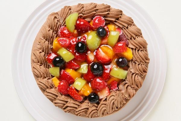 チョコ生クリームフルーツデコレーションケーキ6号(18cm)【バースデーケーキ 誕生日ケーキ デコ バースデー】の画像2枚目