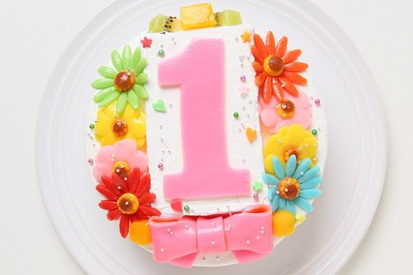 デコもり。Happy 1st birthdaycake(豆乳クリーム)【12cm 4号】