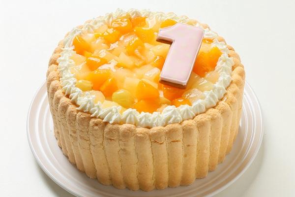 ナンバーアイシングクッキー添え ファーストバースデーナンバーフルーツデコレーション 4号 12cm