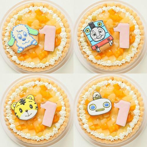 キャラ&ナンバーアイシングクッキー添え ファーストバースデーキャラクター&ナンバーフルーツデコレーション 4号 12cm