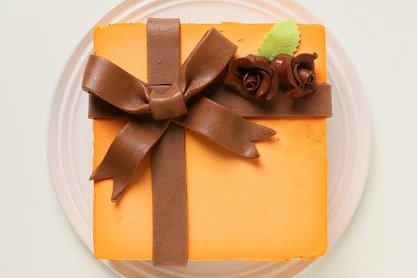 プレゼントボックスケーキ H オレンジ 15×15cm