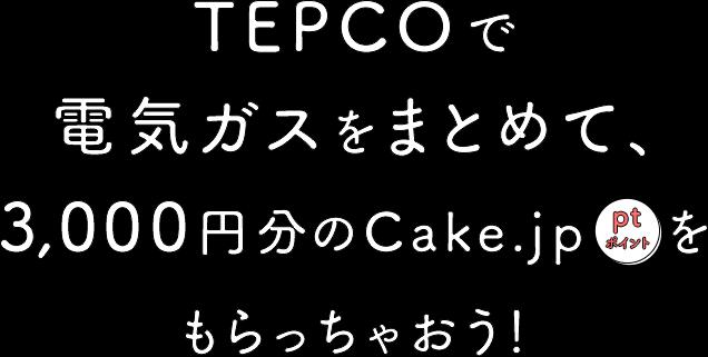 TEPCOで電気ガスをまとめて3,000円分のCake.jpポイントをもらっちゃおう!