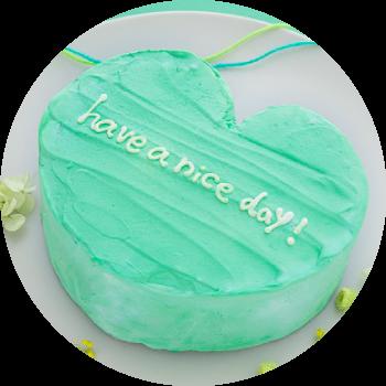 メッセージ入りのハート韓国ケーキ