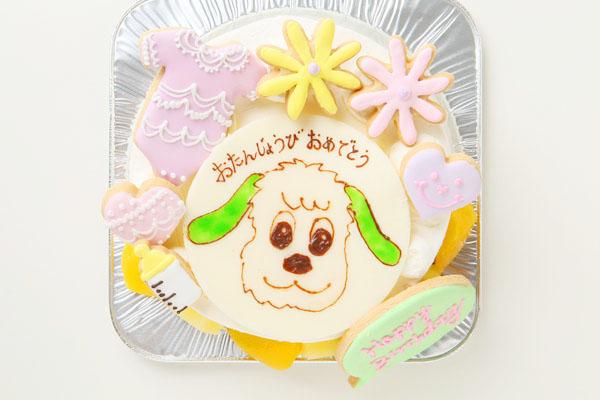 アイシングクッキーバースデーケーキ イラスト 4号 12cmの画像2枚目