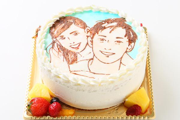 似顔絵デコレーションケーキ 4号 12cmの画像2枚目
