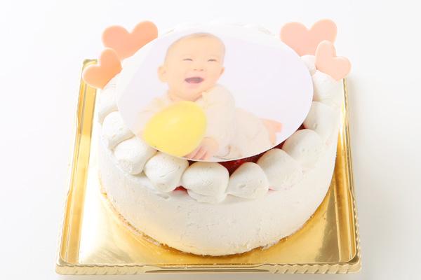 写真プレート付き苺デコレーションフォトケーキ