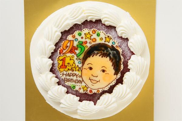 米粉の生クリームデコレーションケーキ +似顔絵 4号 12cm