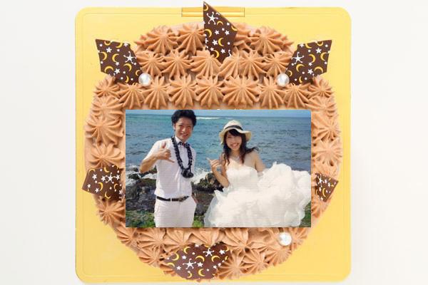 丸型フォトチョコ生クリームデコレーションケーキ 4号 12cm