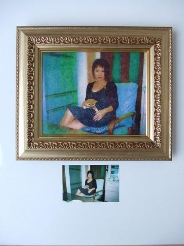 肖像画(キャンバス画+豪華額)F3号(サイズ約430×370)【誕生日 バースデー ギフト 贈り物 プレゼント お祝い 一点物】の画像1枚目