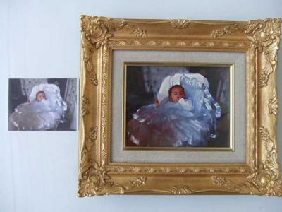肖像画(キャンバス画+額装)F0号サイズ(約310×240前後)【誕生日 バースデー ギフト 贈り物 プレゼント お祝い 一点物】の画像3枚目