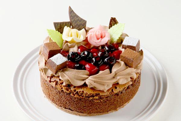 フルーツ飾り魅惑のガトーショコラ  5号 15cm