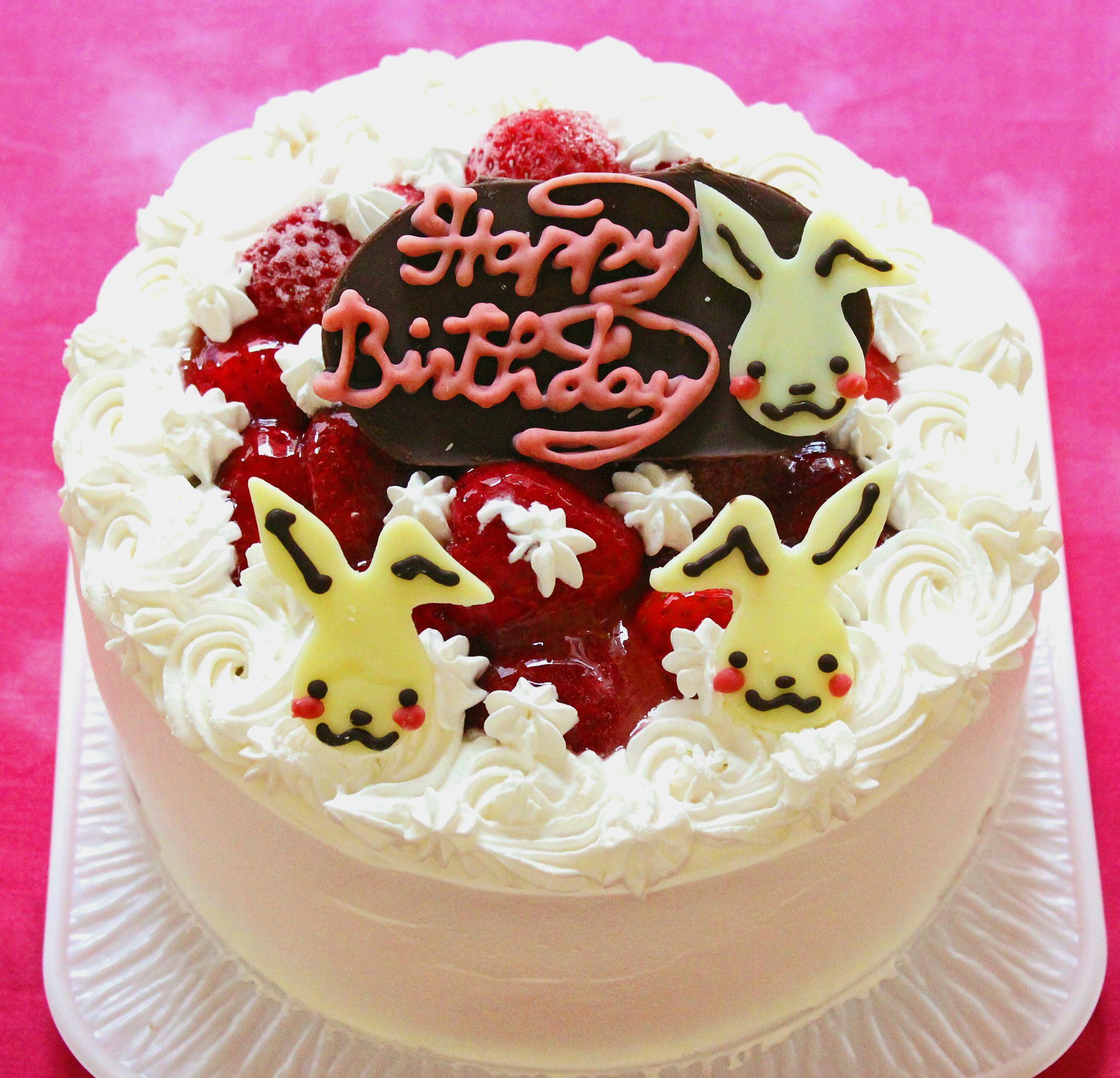 うさちゃんプレート苺のデコレーションケーキ 5号 15cm
