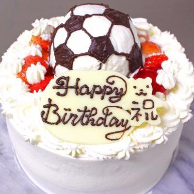 サッカーボール苺のデコレーションケーキ 5号 15cm