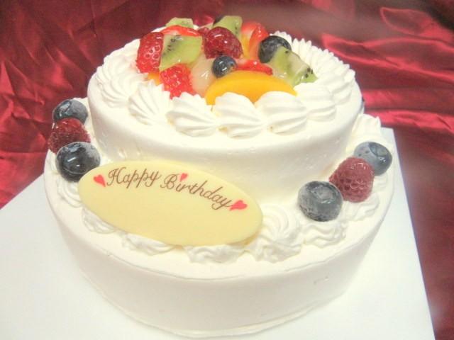 2段フルーツデコレーションケーキ 5号×7号の画像1枚目