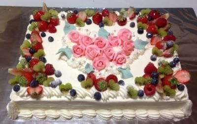 東京 横浜市、みなとみらい近辺配送 薔薇のケーキ1段 20x28cm