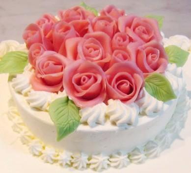 【東京 横浜市、みなとみらい近辺配送】【送料無料】【パーティ用 ウエディング用ケーキの生ケーキを宅配】【40x60cm】薔薇のケーキ2段の画像2枚目