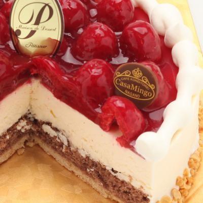 最高級洋菓子 特注ハート型シュス木苺レアチーズケーキ20cmの画像6枚目