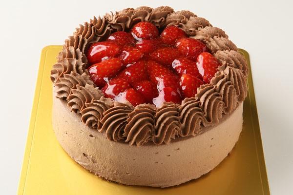 チョコ苺デコレーションケーキ