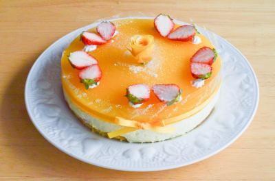 【ポイント10倍】オレンジチーズケーキ6号【バースデー 誕生日 デコ バースデーケーキ】の画像1枚目
