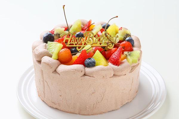 希少糖(レアシュガー)を使ったチョコ生クリームフルーツデコレーションケーキ 5号 15cmの画像1枚目