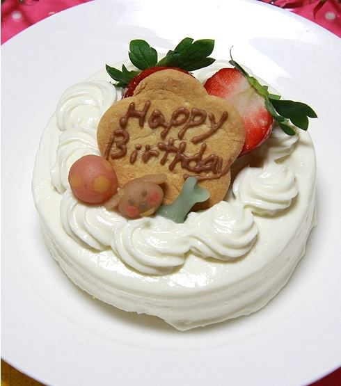 シンプルなショートケーキ☆ハッピーデコレーション・ホワイト 約9cm